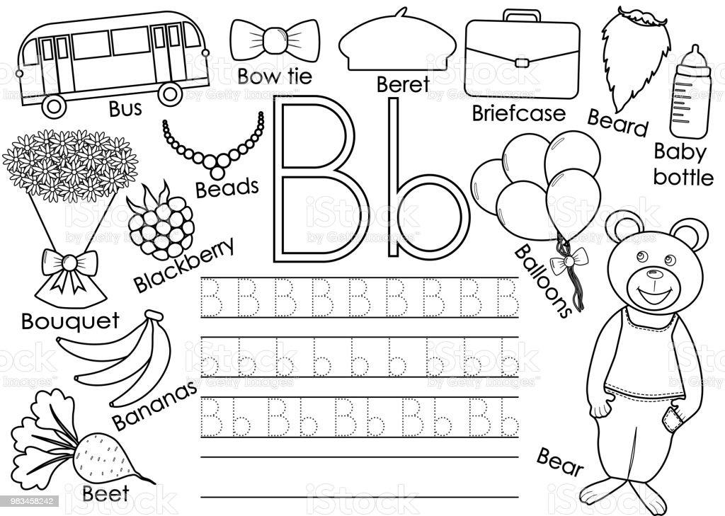 Ilustración de Alfabeto Letra B Práctica De Escritura Para Los Niños ...