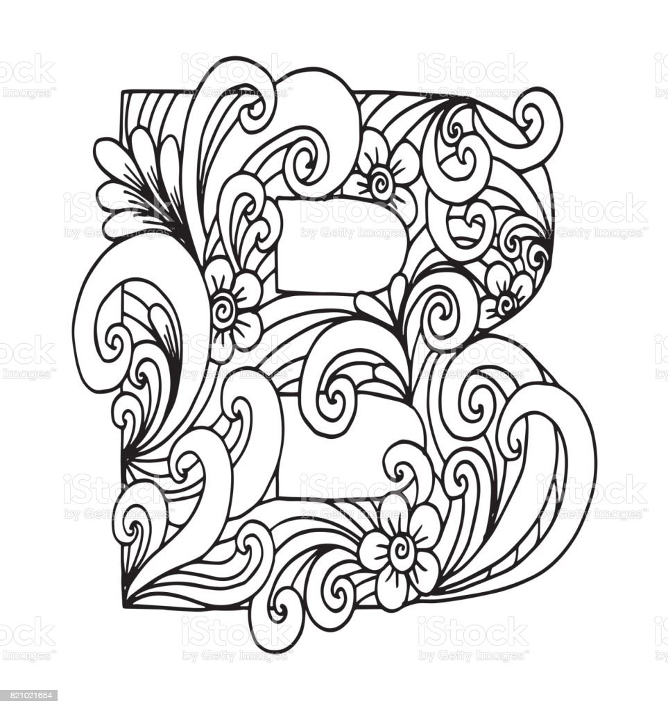 Letter B For Coloring Vector Decorative Object