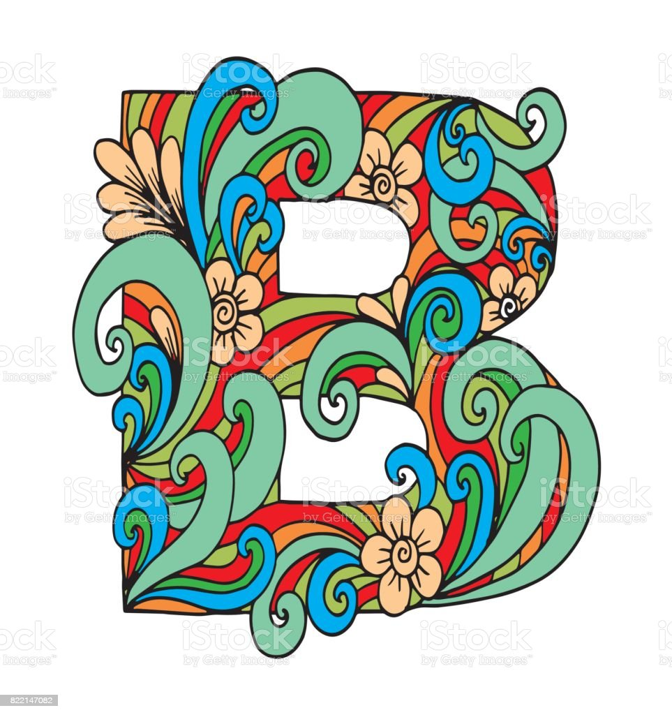 Letter B For Coloring Vector Decorative Object Illustration Computer ...
