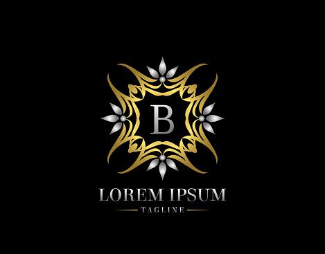 Letter B Golden Luxury Badge Logo Design. Graceful Ornate Icon Vector Design.