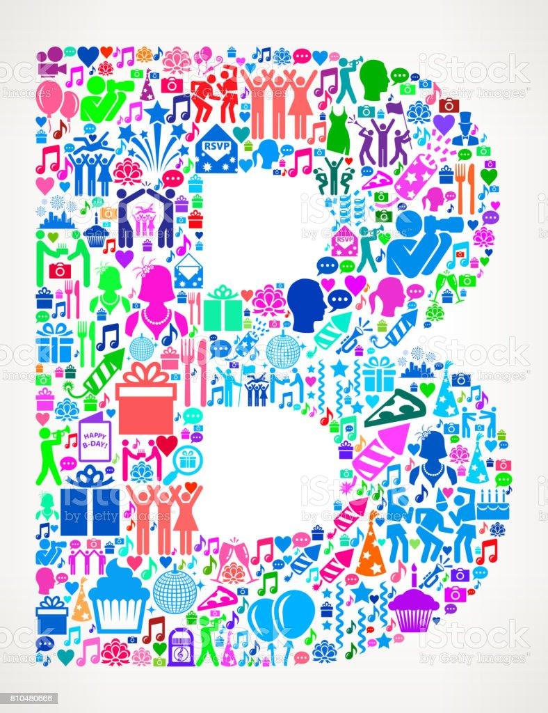letter b happy birthday celebration vector icon pattern royalty free letter b happy birthday celebration