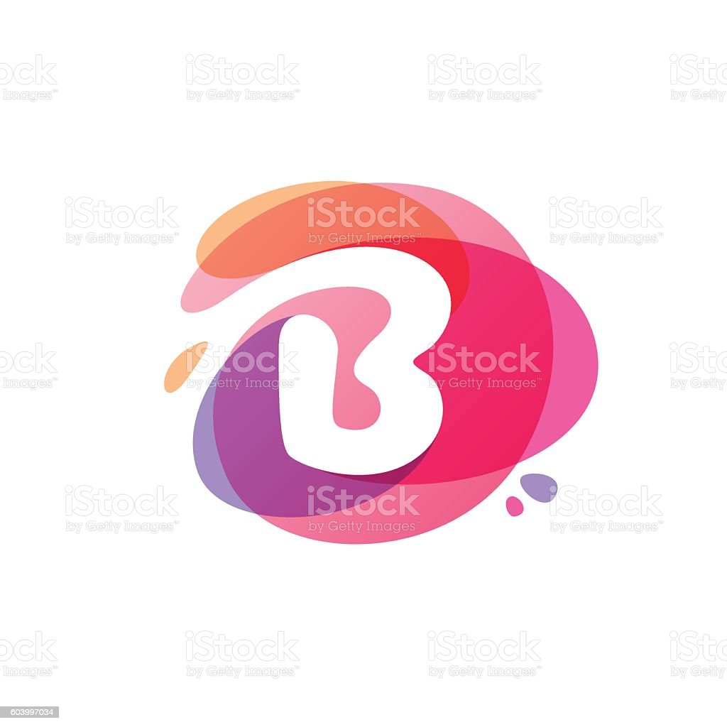 Letter B Icon At Colorful Watercolor Splash Background Stock Vector ...