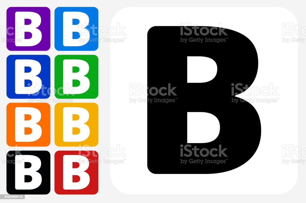 Letter B Icon Square Button Set vector art illustration