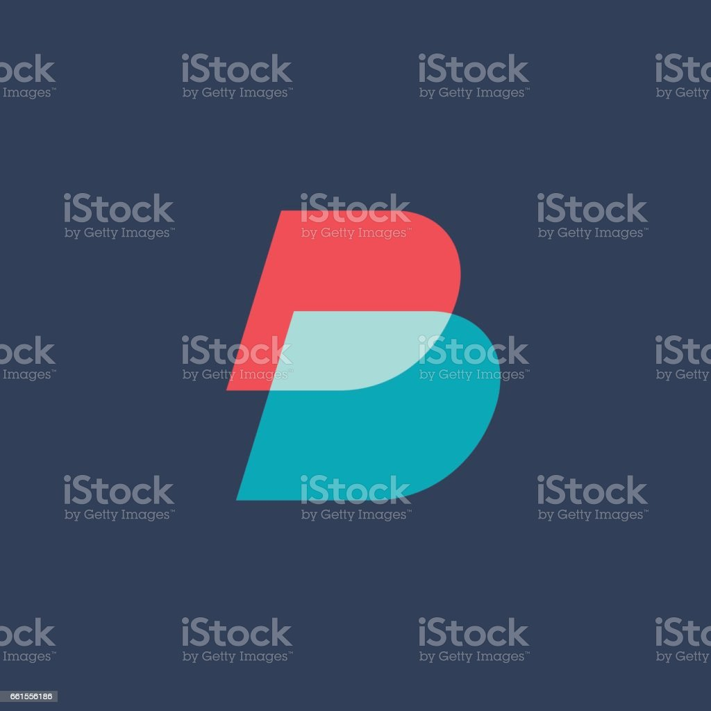 Letter B icon vector art illustration