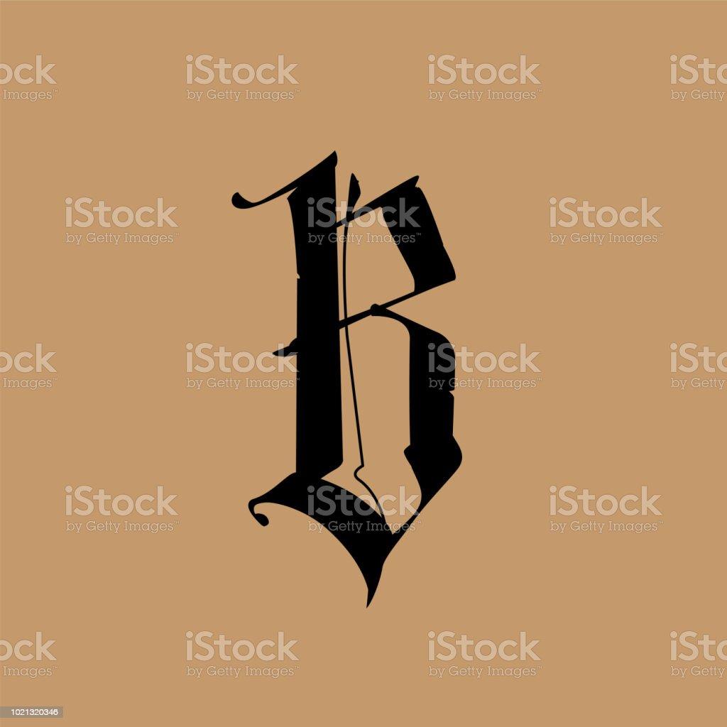 Lettre B Dans Le Style Gothique Vector Alphabet Le Symbole Est Isole