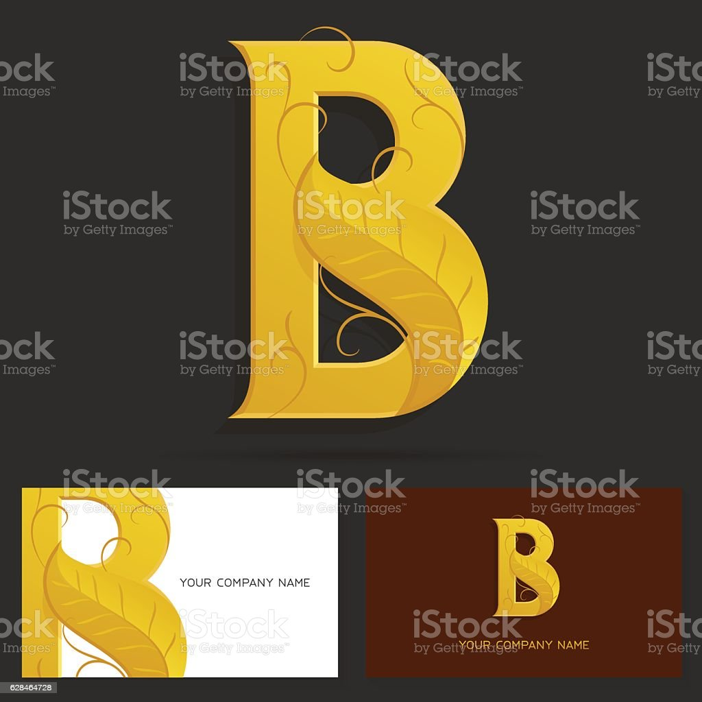 Letter b logo design template golden sign with a leaf stock vector letter b logo design template golden sign with a leaf royalty free stock pronofoot35fo Image collections