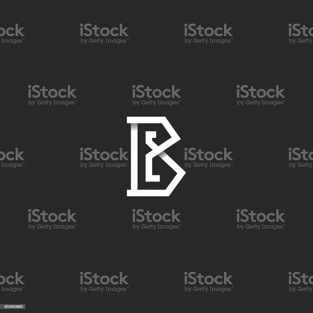 Mektup B logo ilk monogram fikir, siyah ve beyaz açısal çakışan satır, basit amblem mockup tasarım öğesi için kartvizit vektör sanat illüstrasyonu