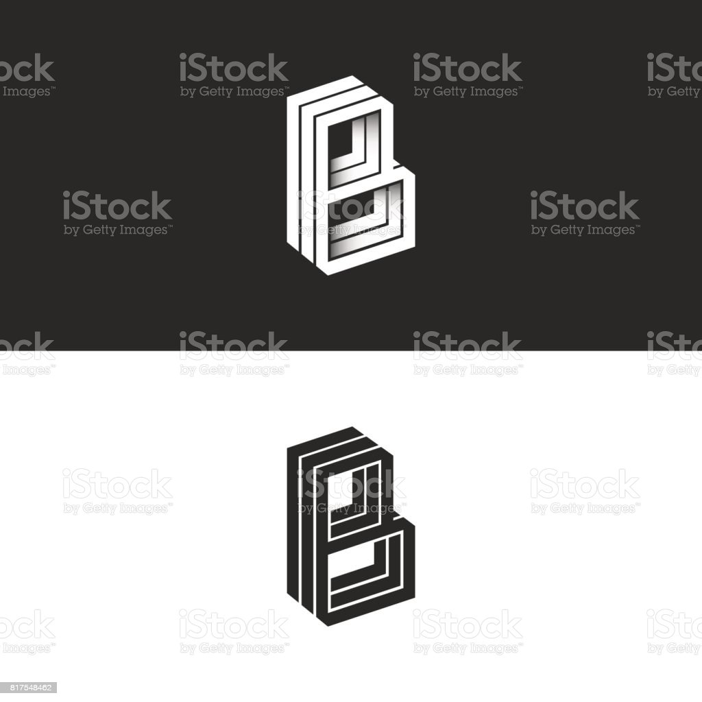 Letter B logo isometric lines geometric shape hipster monogram, simple linear typography black and white emblem, 3D black and white BBB mark initials emblem vector art illustration