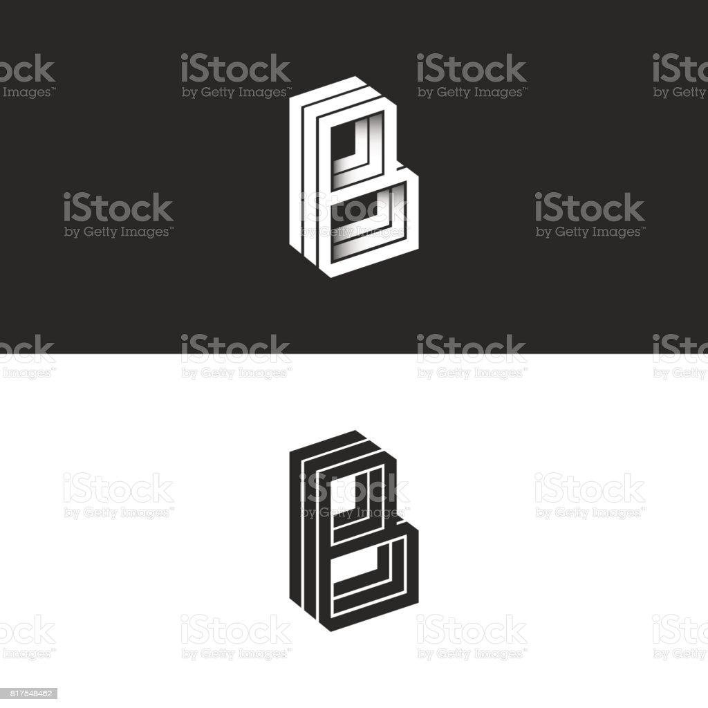 Mektup B logo izometrik satırları geometrik şekil hipster monogram, basit doğrusal tipografi siyah beyaz amblem, 3D siyah beyaz BBB işareti baş harfleri amblemi vektör sanat illüstrasyonu