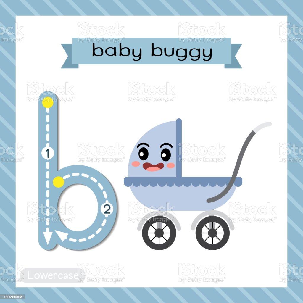 Buchstabe B Kleinbuchstaben Ablaufverfolgung Baby Buggy Stock Vektor ...