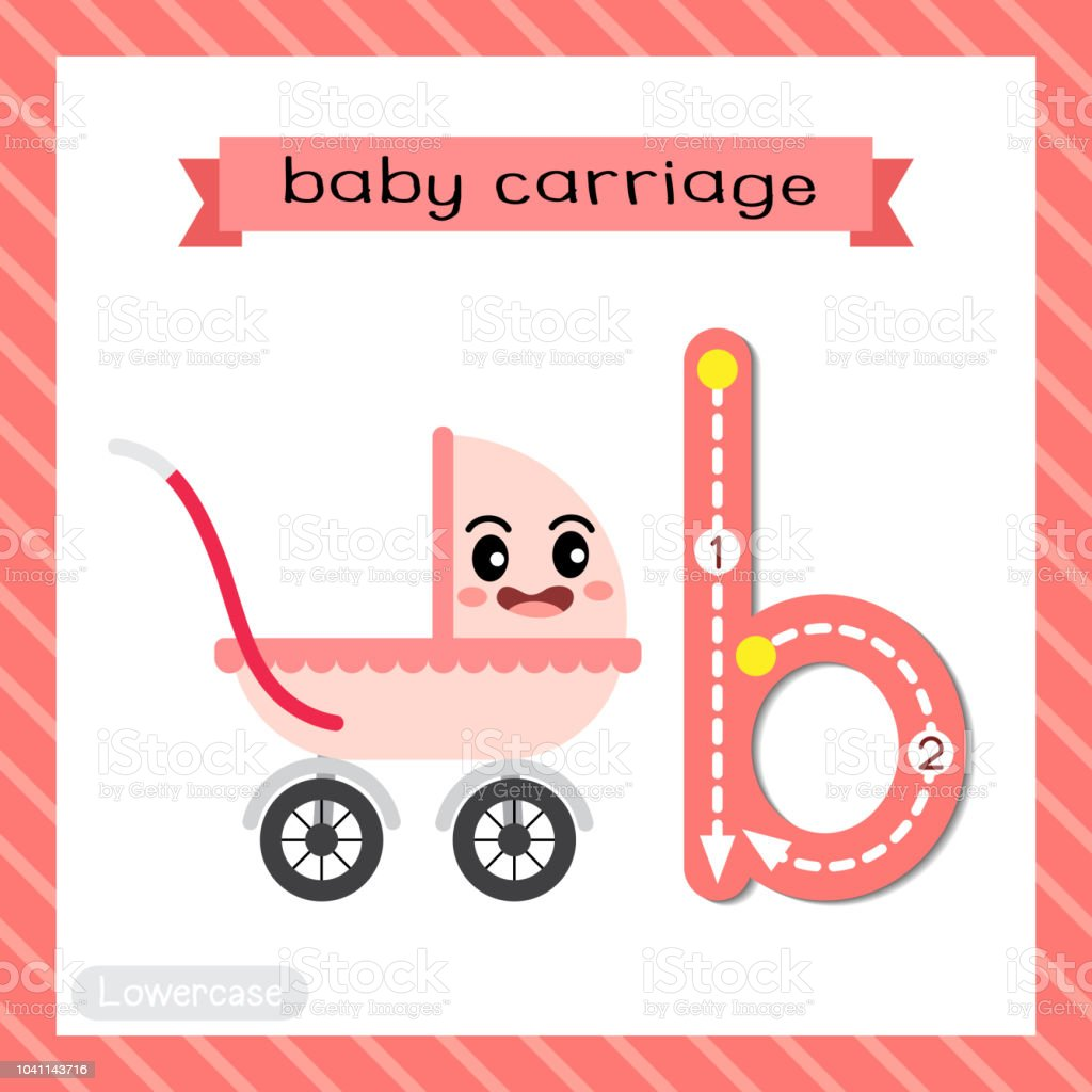 Letter B Lowercase Tracing Baby Carriage Stock Vector Art More