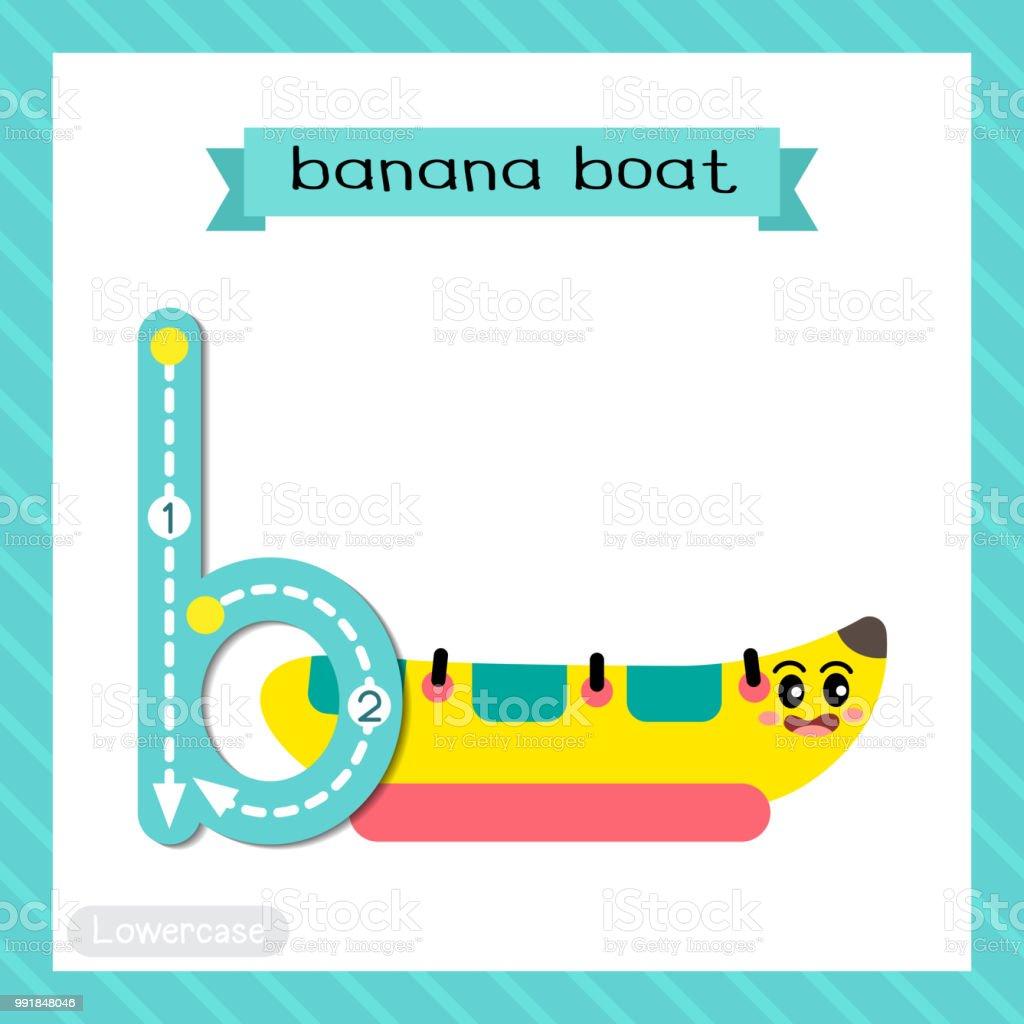 Letter B lowercase tracing. Banana Boat vector art illustration