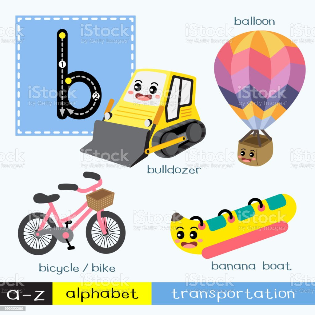 Letter B lowercase tracing transportations vocabulary vector art illustration