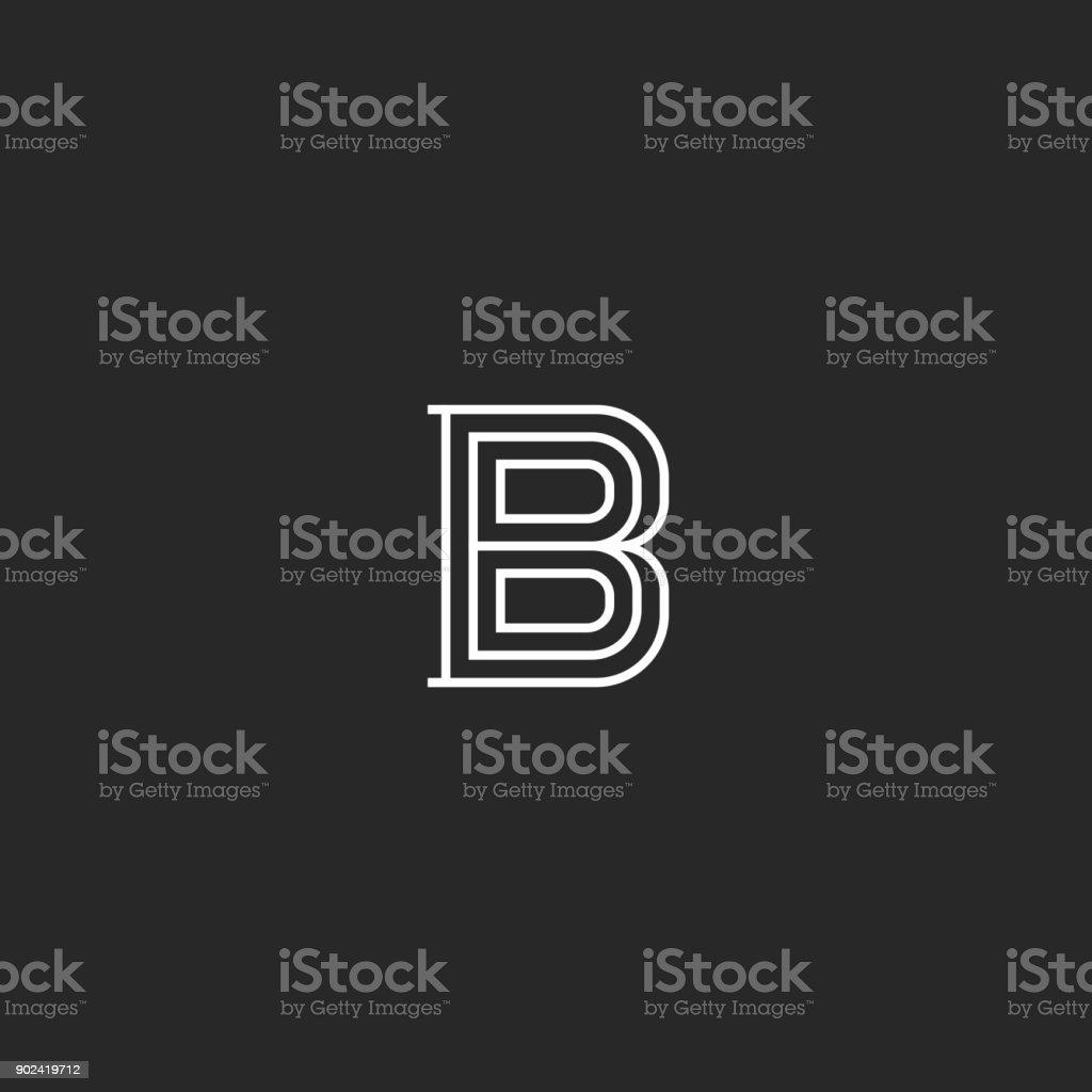 B harfi Ortaçağ monogram. Kartvizit basit amblem için ilk. Yaratıcı doğrusal işareti en az tarzı sanat tasarım. vektör sanat illüstrasyonu