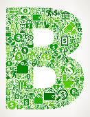 Letter B Money and Finance Green Vector Icon Background. This money and finance vector composition features the main design element in the center and is surrounded by a variety of green icons. The icons include such popular financial items as money, dollar, and dollar bill, coins, and many more. Figures of man and women are also present to give the background a human touch. Ideal for wealth, business and money concepts.