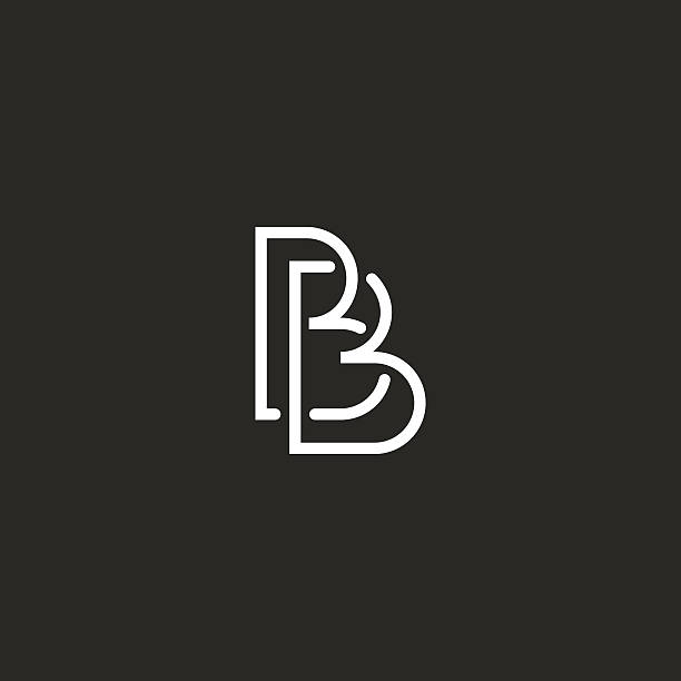 Letter B monogram logo, intersection thin line design overlap outline vektör sanat illüstrasyonu