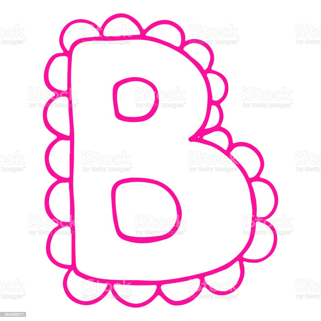 Letter B Pink Lace Lettering Alphabet Isolated Vector Stock Vector ...