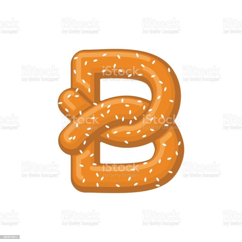 Buchstabe B Brezel. Snack-Schriftartsymbol. Essen-Alphabet-Zeichen. Traditionelles deutsches Essen ist ABC. Backen – Vektorgrafik