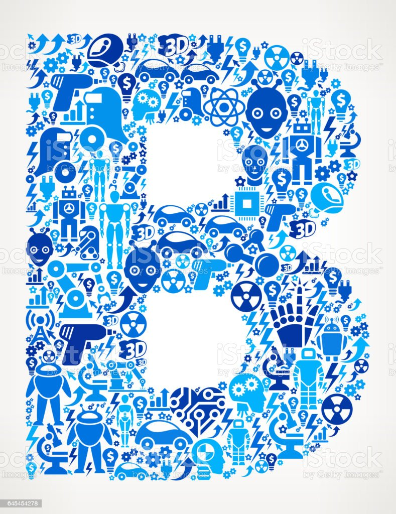 Letter B Robots And Robotics Automation Pattern Stock Vector Art