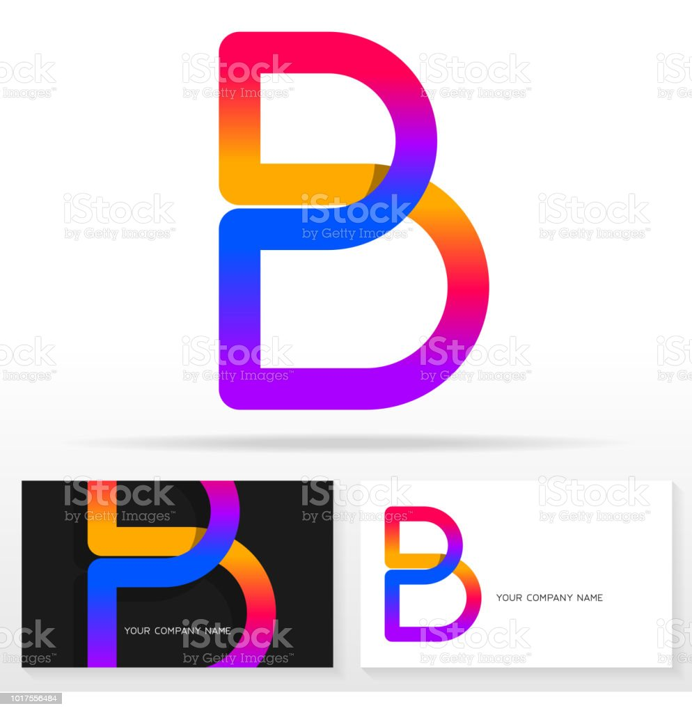 letter b sign icon design template business card templates stock