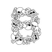 Letter B skeleton Bones Font. Anatomy of an alphabet symbol. dead ABC sign