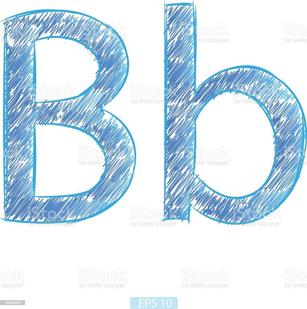 letter b sketch blue on white background stock vector art