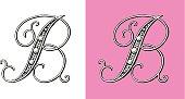 Letter B, Typo, Alphabet, Enluminure, Ornement,  Manuscrite,monogram, Rétro, Bijoux