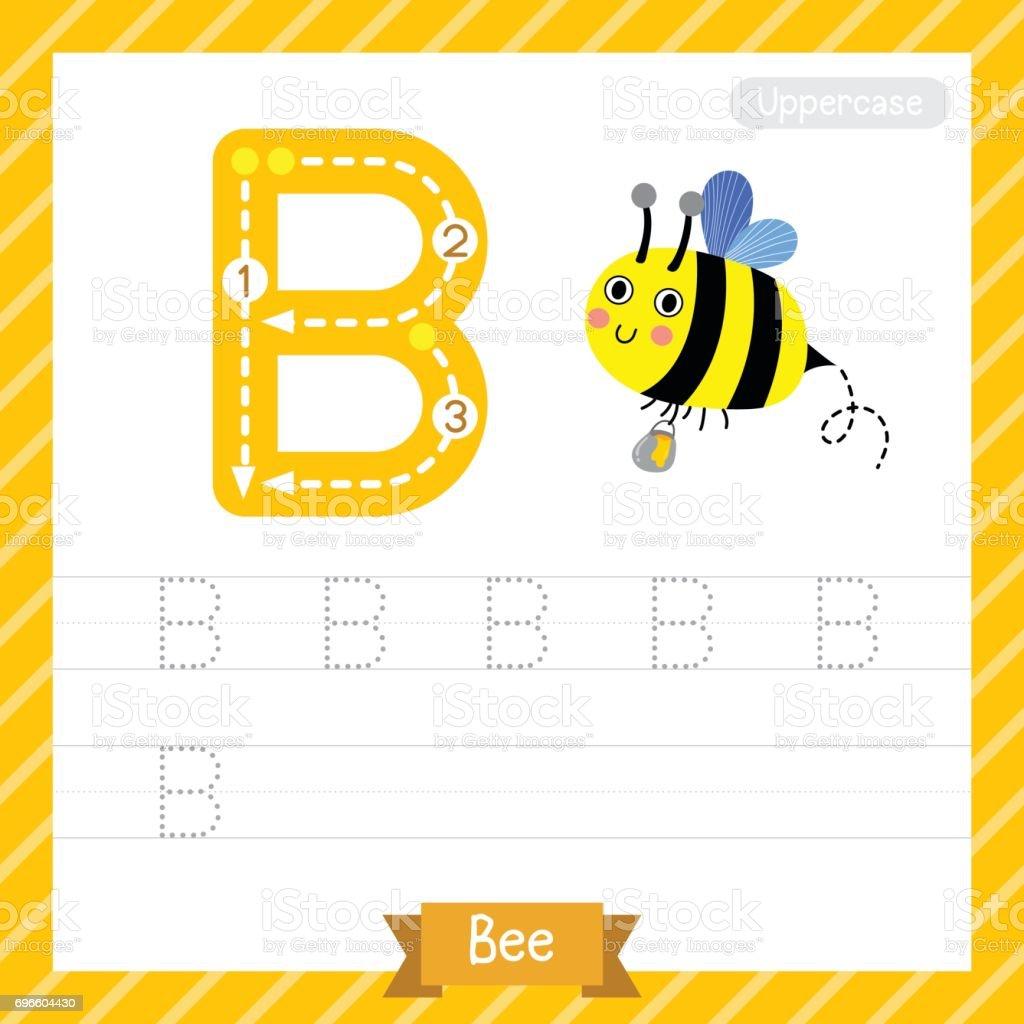 Buchstabe B Großbuchstaben Biene Tier Ablaufverfolgung Arbeitsblatt ...