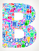 Letter B Wedding and Love Vector Graphic. The main object of this royalty free illustration is the composed of colorful vector icon pattern. These color wedding and love icons vary in size and form a seamless composition. The icons are white in color. This illustration is conceptual and ideal for love, wedding, marriage and relationship graphics. Each icon can be used independently from the background set.