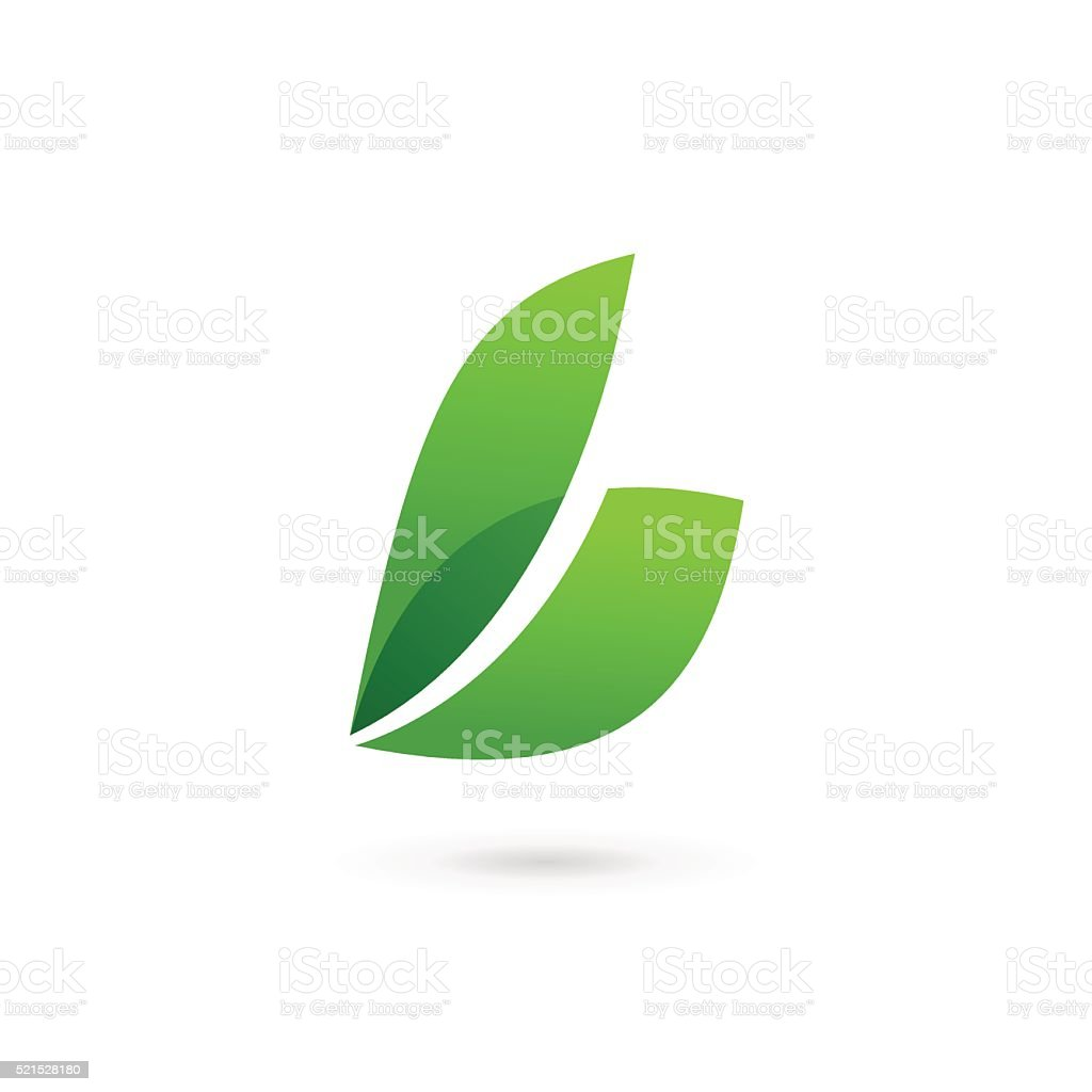 Letter B with eco leaves icon vector art illustration