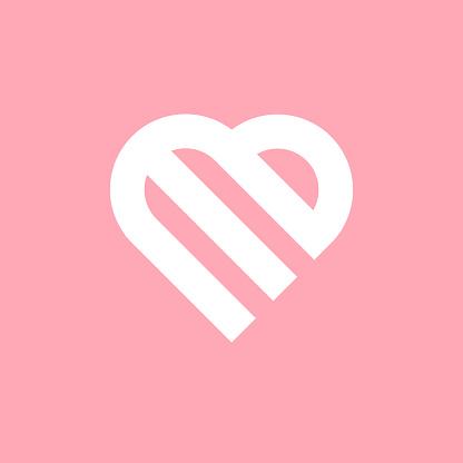 E letter based design in heart shape