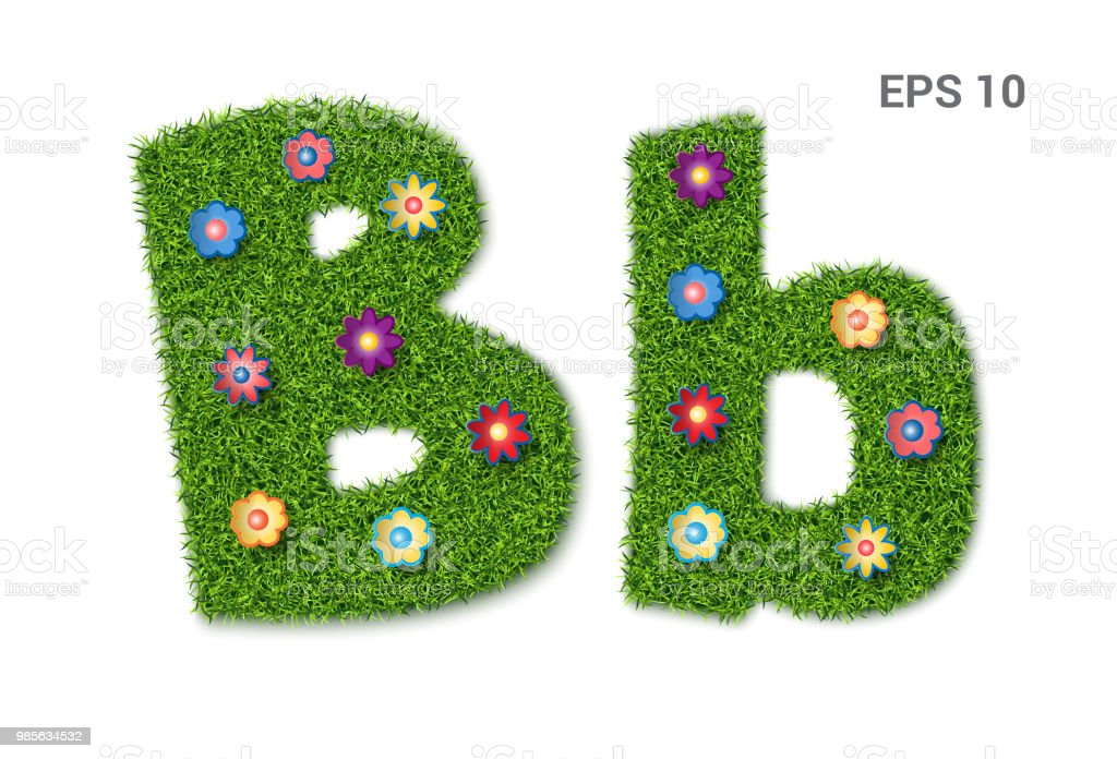 Letter Bb With A Texture Of Grass And Flowers Stock Vector Art