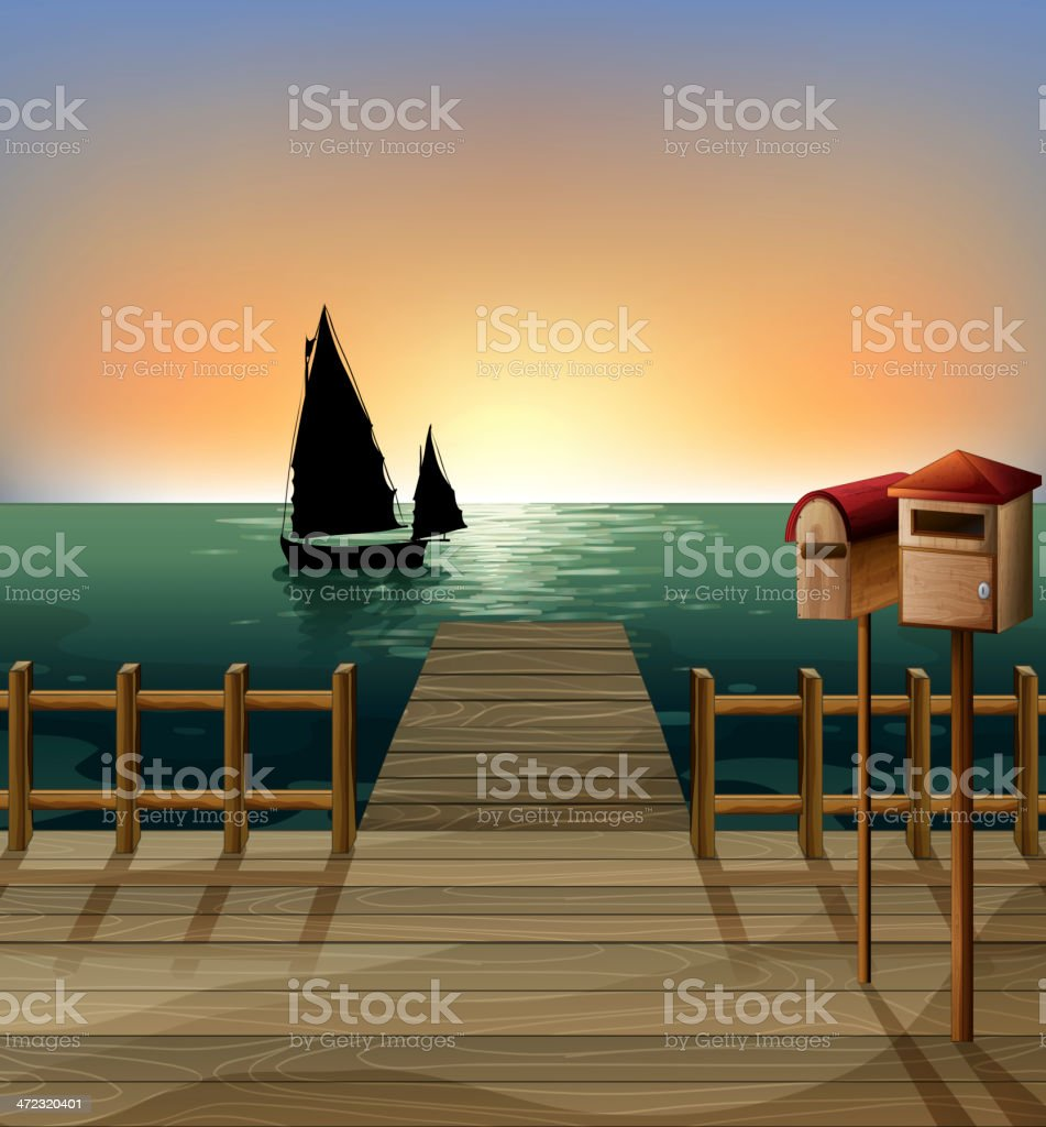 letter box and ships in a sea