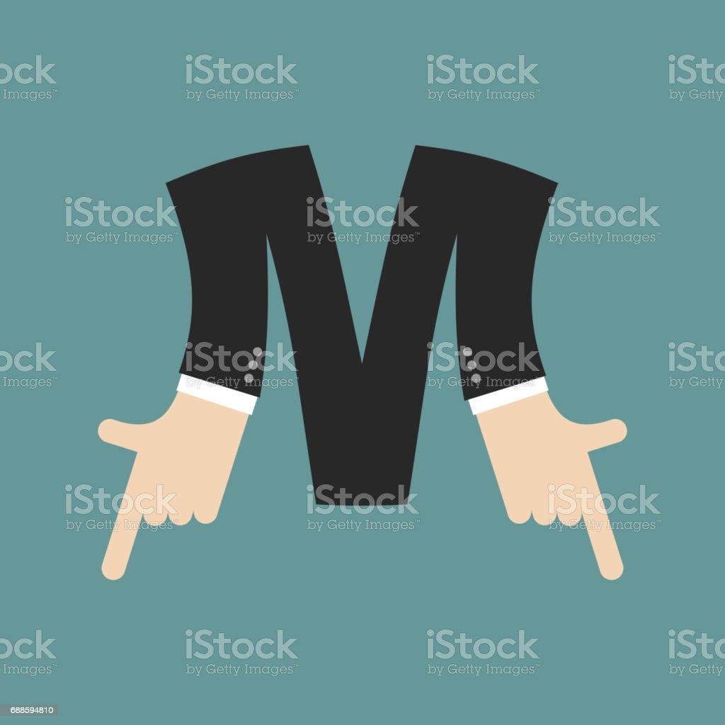 M Letter Businessman Hand Font It Shows Finger Print Arm Symbol