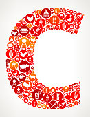 Letter C  Barbecue Party Icon Pattern Background. The main shape is composed of circles with the barbecue party and meet icons on them. The circles vary in size and shade of the red and orange color. The background of the image is white with a slight gradient. The icons include such summer barbecue images as the barbecue grill, chicken, beef, coking utensils and many more icons.