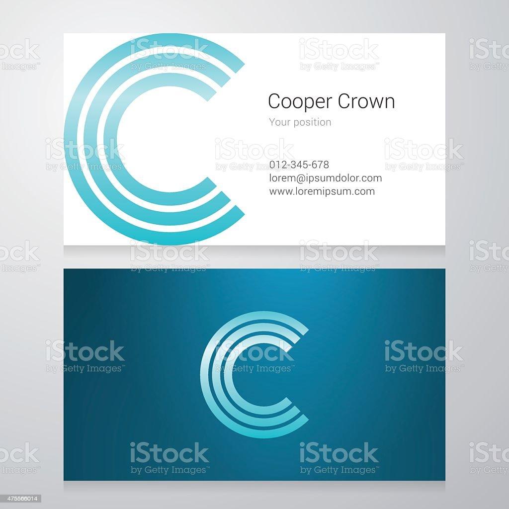 Letter C Business card template vector art illustration