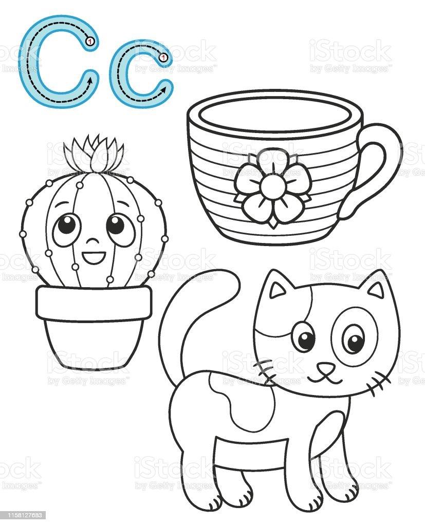 graphic regarding Printable Letter C titled Letter C Cat Cup Cactus Vector Coloring Guide Alphabet