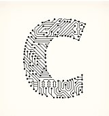 Letter D Circuit Board On White Background Stock Vector Art & More ...