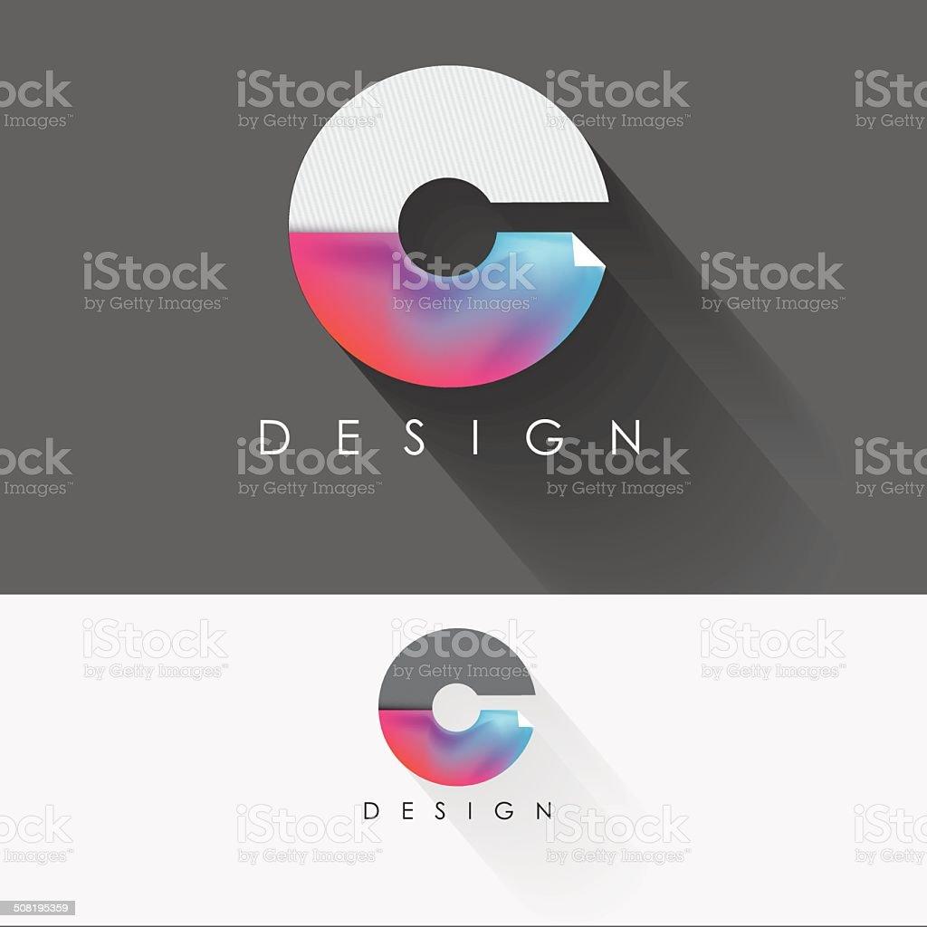 letter c colorful design element for business vector art illustration