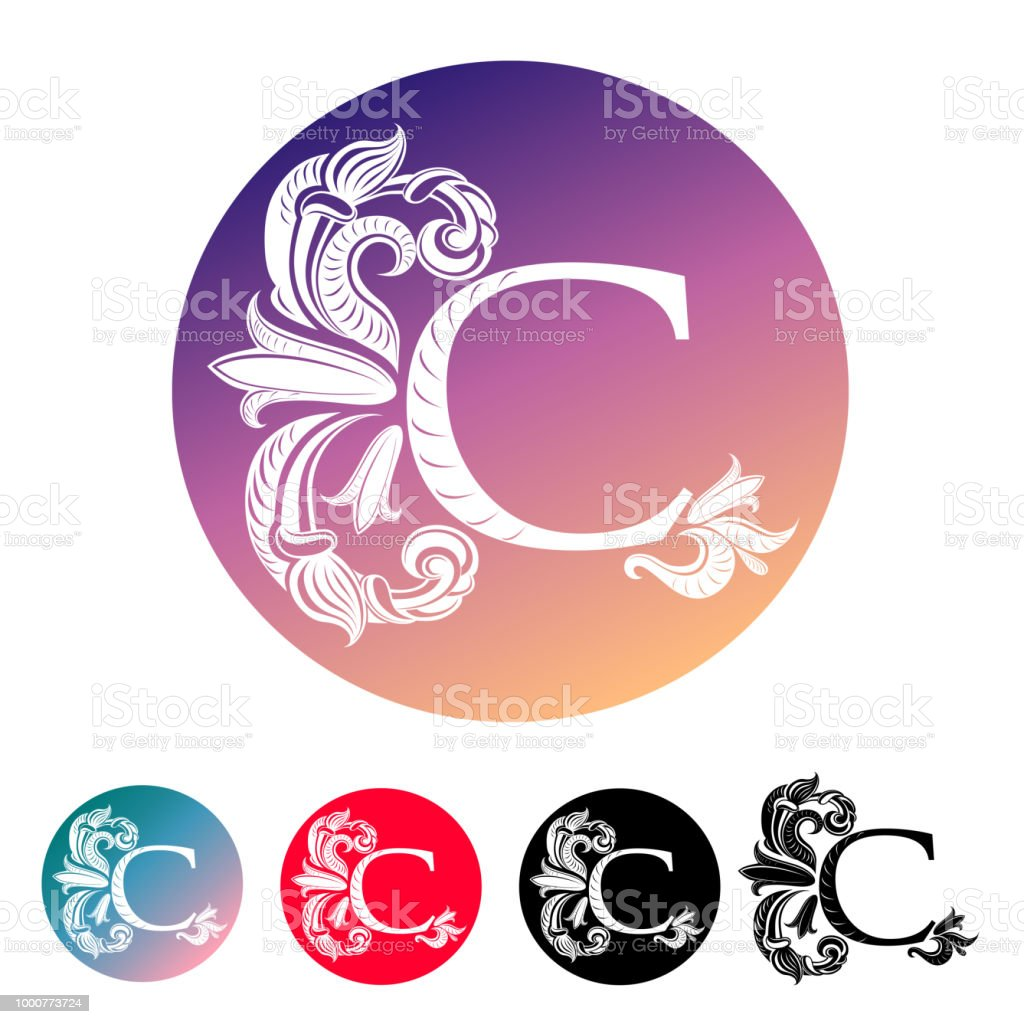 Letter C Decorated With Vintage Elegant Flowers And Leaves With ...