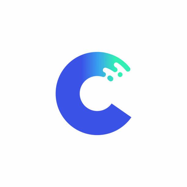 Letter C Design Vector In Blue Green Gradient vector art illustration