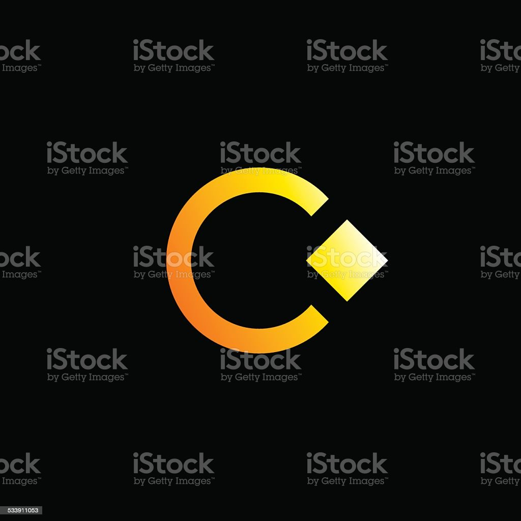 Letter C emblem icon design template with ring and crystal vector art illustration