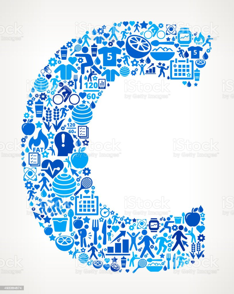 a961ef17e Letra C de ginástica e alimentação ícone padrão vetor de letra c de  ginástica e alimentação
