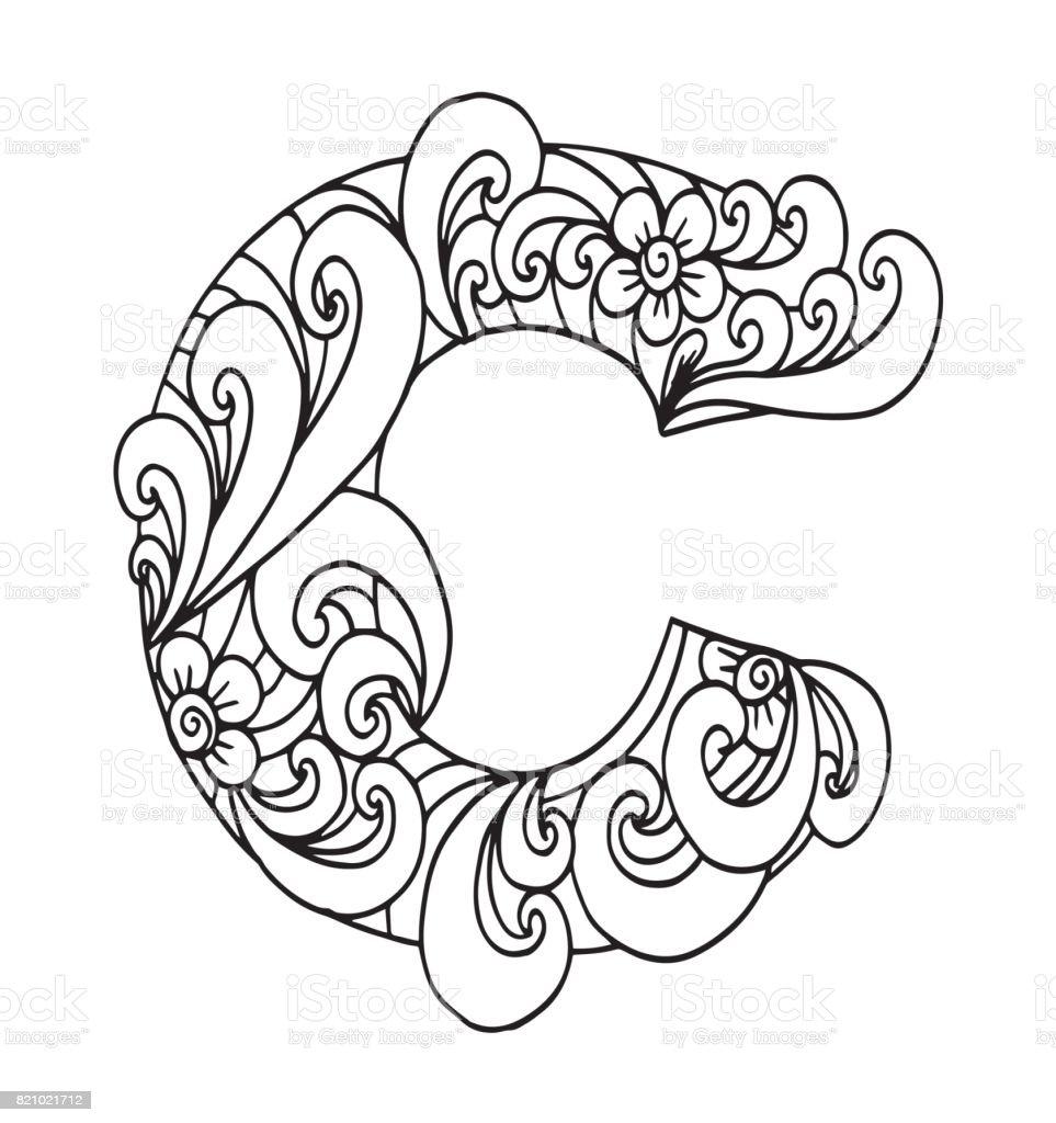 Decorative Letter C Letter C For Coloring Vector Decorative Object Illustration