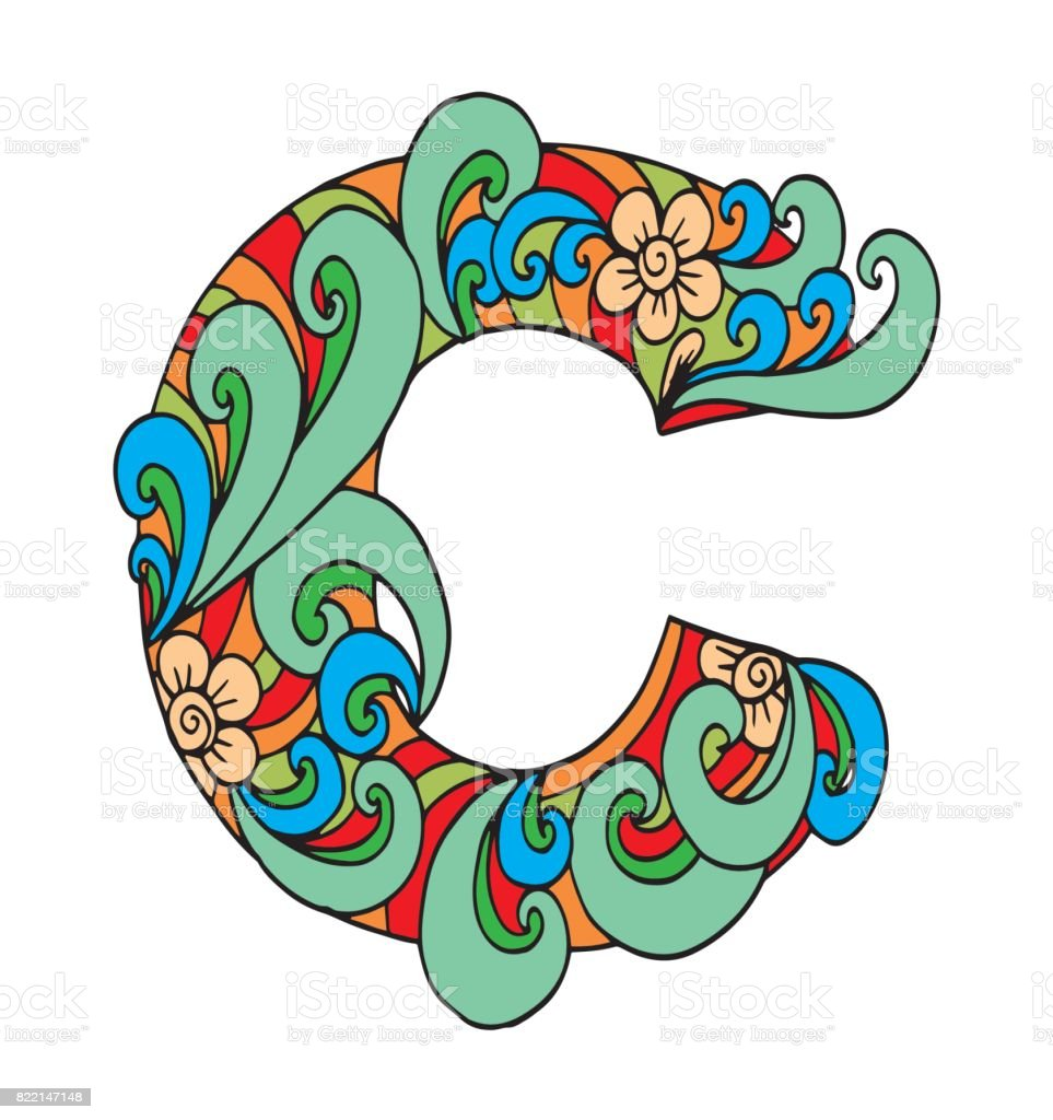 Letter C For Coloring Vector Decorative Object Illustration Computer ...