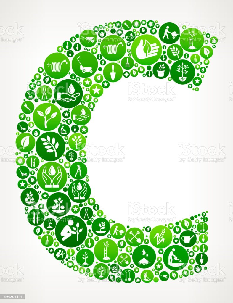 Letter C Garden And Gardening Vector Icon Pattern Stock