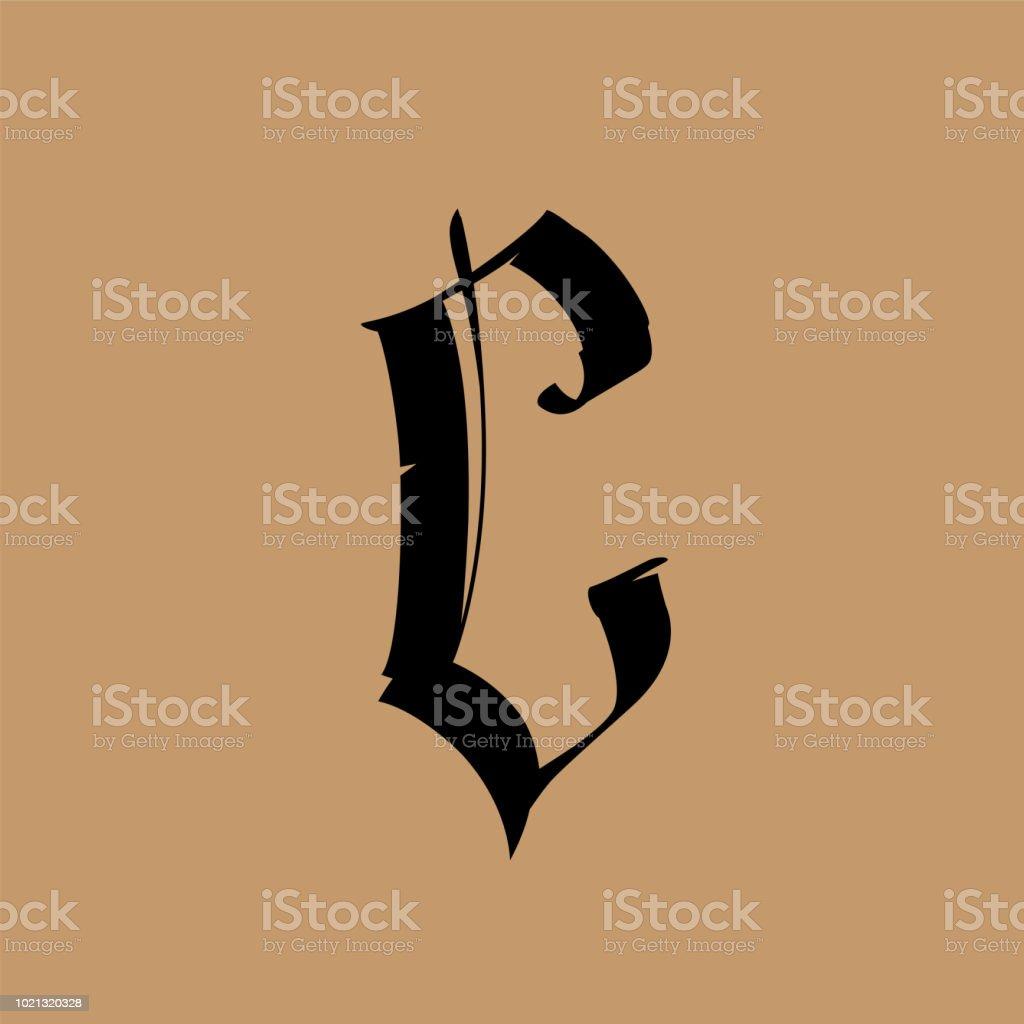 Lettre C Dans Le Style Gothique Vector Alphabet Le Symbole Est Isole