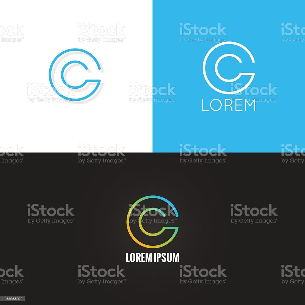 letter C logo alphabet design icon set background vector art illustration