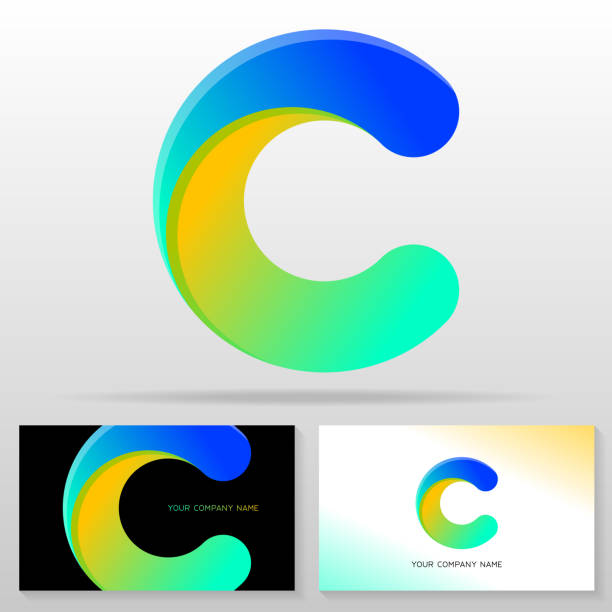 Letter C logo design – colorful vector sign. Letter C logo design – colorful vector sign. Business card templates. letter c stock illustrations