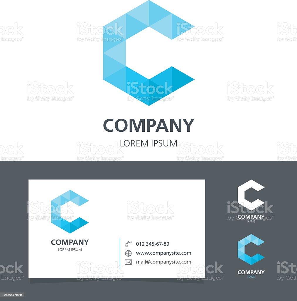 Letter C - Logo Design Element with Business Card - illustration royalty-free letter c logo design element with business card illustration stock vector art & more images of abstract